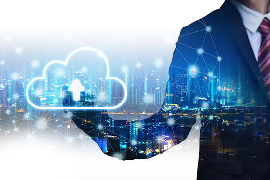 Double exposure cloud network connection concept, Business man with technology graphic and future city background at night